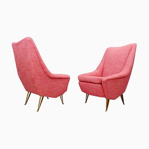 Mid-Century Italian Armchairs with High Backs, Set of 2