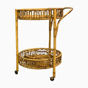 Italian Bamboo and Rattan Round Service Side Bar Cart, 1960s
