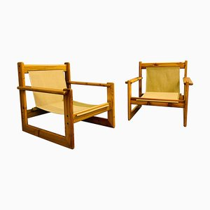 Mid-Century Safari Pine Armchairs, Set of 2