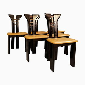 Sculptural Black Lacquer Chairs with Leather Seats by Pierre Cardin, 1970s, Set of 6