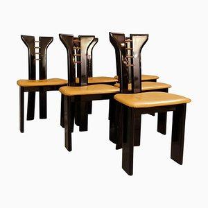 Skulpturale schwarz lackierte Stühle mit Ledersitzen von Pierre Cardin, 1970er, 6er Set