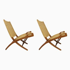 Wood and Rope Foldable Armchairs in the Style of Gio Ponti, 1960s, Set of 2