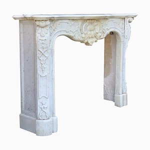 Late-19th Century Carrara Marble Fireplace