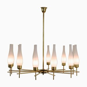 Italian Chandelier in Brass and Opaline Glass, 1960s