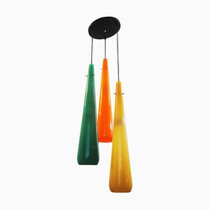 3-Color Ceiling Light in Glass from Stilnovo, Italy, 1970s
