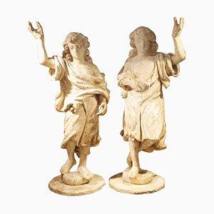 18th Century German Wooden Sculptures, Set of 2