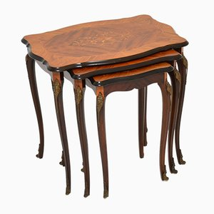 French Inlaid Rosewood Marquetry Nesting Tables, 1930s