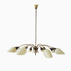 Mid-Century Sputnik Chandelier with 8 Brass and Glass Arms