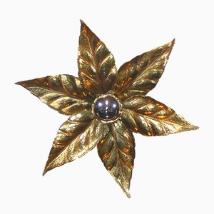 Vintage Brass Flower Sconce by Willy Daro