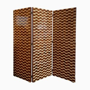 Mid-Century Rosewood Marquetry 3-Panel Screen