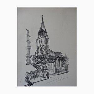 Litografia dei 2 Macachi e St-Germain-des-Pres di Maurice Utrillo