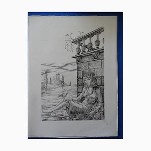 Souvenir of Italy Etching by Jean Paul, 1945