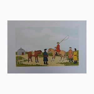 Lithographie Cheval en Mongolie par Vincent Haddelsey