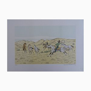 The Capture of the Wild Horses Lithograph by Vincent Haddelsey