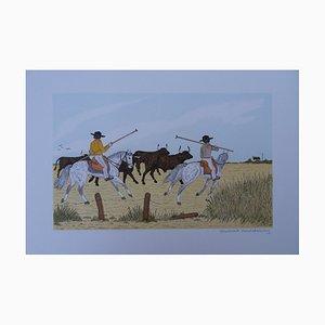 Lithographie The Bulls Guards par Vincent Haddelsey