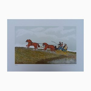 Horse Hitch Lithograph by Vincent Haddelsey