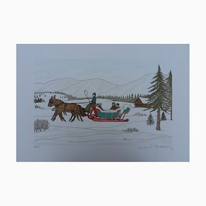 The Horse Sleigh Lithograph by Vincent Haddelsey