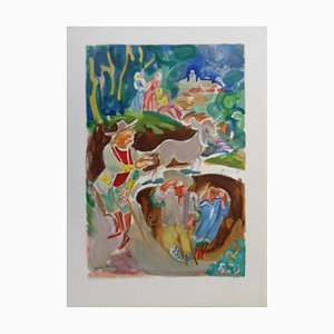 Lithographie The Miller His Son and the Donkey par André Planson, 1961