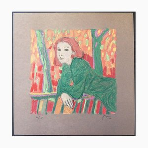 Lithographie Rousse Woman Homage to Matisse par Robert Stenne, 1931