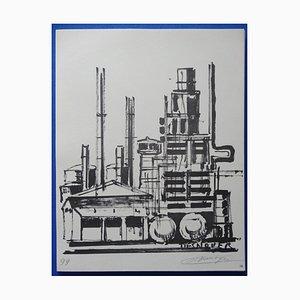 Incisione The Refinery Helio di François Desnoyer, 1963