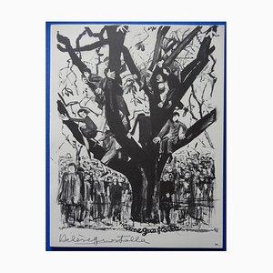 Gravure Perché sur un Arbre par Hélène Guastalla, 1963