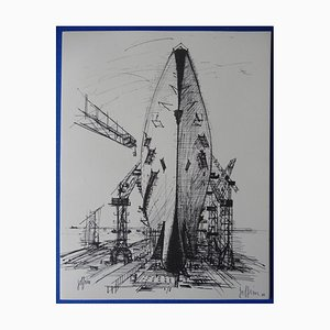 Gravure Shipyard par Guily Joffrin, 1963