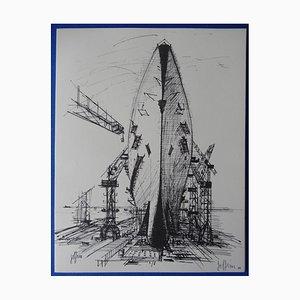 Incisione del cantiere navale di Guily Joffrin, 1963