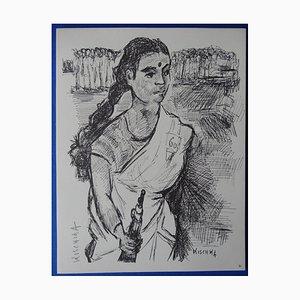 Gravure de Lutte Indienne par Isis Kischka, 1963
