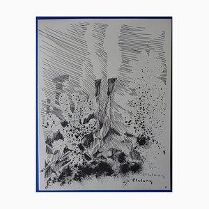 Gravure Le Grand Bleu par Pierre Lelong, 1963