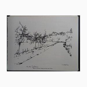Thorigny-sur-Creuse in der Yonne Helio Radierung von Michel de Gallard, 1961