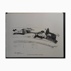 Landscape of Mollien in Seine-et-Marne Helio Engraving by Henri Hayden, 1961