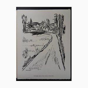 Incisione Route du Bac a Seine-et-Oise Helio di Isis Kischka, 1961