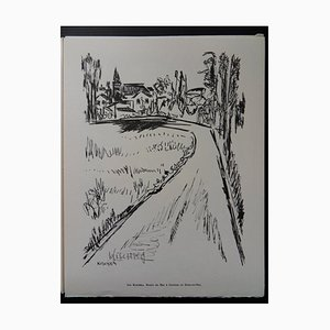 Route du Bac in Guernes in Seine-et-Oise Helio Radierung von Isis Kischka, 1961