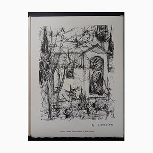 Gravure Back-to-Cabres en Haute-Provence Helio par Maurice Verdier, 1961