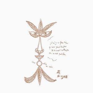 Litografia The Voice di Jean Cocteau, 1958