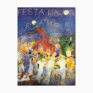 Festival Lithograph by Francesc Artigau, 1985