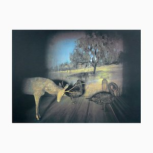 Deer and Gooses Lithograph by Francisco Larios, 1990