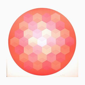 Photolithograph Tribute to Vasarely by Jim Bird, 1937