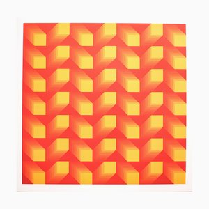 Tribute to Vasarely 12 Photolithograph by Jim Bird, 1972