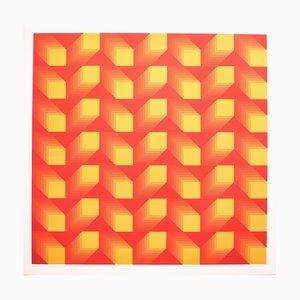 Tributo a Vasarely 12 fotolitografia di Jim Bird, 1972