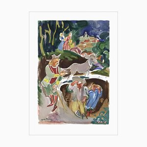 Lithographie The Miller, His Son and the Donkey par André Planson, 1981