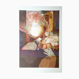 Lithographie Couple avec Fleur par Alvar Sunol, 1976