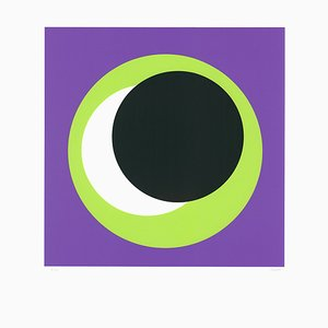 Green Circle on Purple Serigraph by Geneviève Claisse, 2015