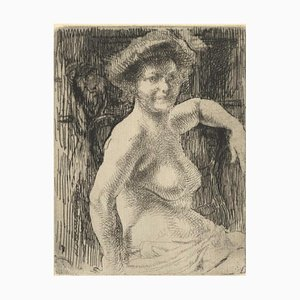 Femme Blonde a sa Toilette Etching by Albert Besnard, 1911