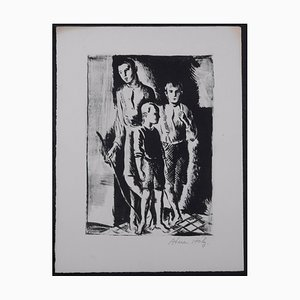 Kinder Lithographie von Adrien Holy, 1930