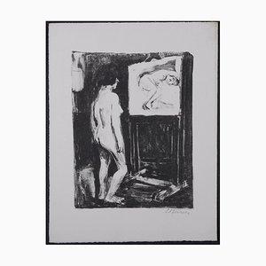 Litografía Desnudo en el estudio de Leonhard Meisser, 1930