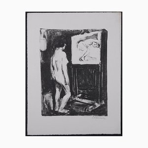 Nude in the Studio Lithograph by Leonhard Meisser, 1930