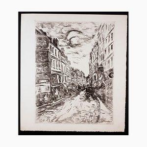 Rue de la Cooler Montmartre Paris Etching by Maurice de Vlaminck, 1927