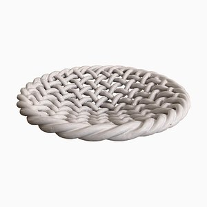 Large Mid-Century Woven Ceramic Dish from Vallauris