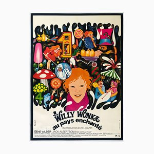 Large French Willy Wonka Film Movie Poster, 1971
